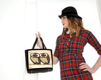 Vintage owl purse, 1960s black red kelly handbag