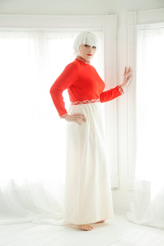 Vintage red white maxi dress, long sleeves hostess, L XL plus size, 1970s