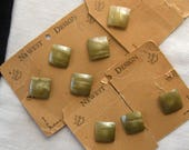 """7 Olive Green Buttons,19 mm Square, Convex, Shank,""""Newest Design"""" Card, Plastic, Collectible, Shimmery Streaks, Green"""