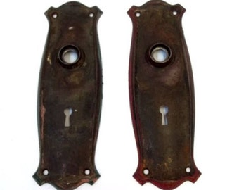 Pair of Metal Door Plates Skeleton Key Hole Salvage Hardware Wedding Decor Restoration Hardware Salvage Door Escutcheon Nice Shape DD 1246