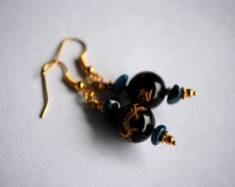 Black Agate and 14k Gold Chinese Dragon Earrings | Blue Apatite Nugget Earrings | Gold Black Blue Earrings | Fish Hook, French Hook Earrings