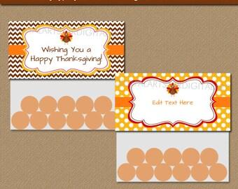 Thanksgiving DIY Bag Toppers - Thanksgiving Party Favors - Happy Thanksgiving Treat Bag Toppers - Instant Download Thanksgiving Topper T4