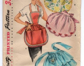 1950's Simplicity Half or Full Apron with Heart Pocket or Large Pocket Pattern - One Size - No. 4938