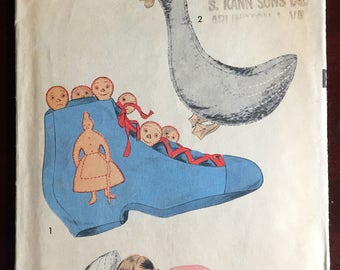 1940's Advance Goosey Goosey Gander and Old Woman Who Lived In A Shoe Stuffed Animal pattern- No. 7860