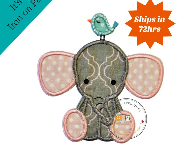 Little elephant iron on applique in pink with white polka-dots and gray and pink fabric, matching thread, and a light blue bird on its head