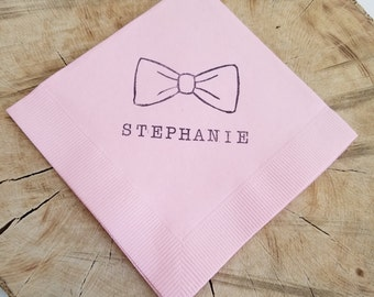 Personalized Baby Shower Bowtie Light Pink Cocktail Napkins Neutral Baby Shower- Set of 50