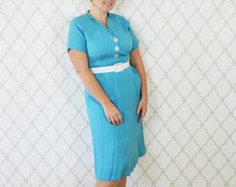 Vintage 1960's Blue Shirt Waist Dress - Short Sleeve Casual Day Dress - Classic 60s chic work dress - Mad Men blue dress - ladies size large