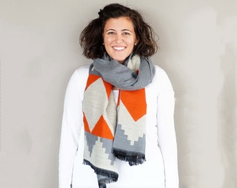 Grey and Orange Aztec Tribal Pattern Blanket Scarf