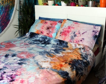 SALE - Tie Dye Duvet Cover Set - Hand Sewn Bedding - Hippie Bedding - Watercolor Bedding - WATERCOLOR DREAMS