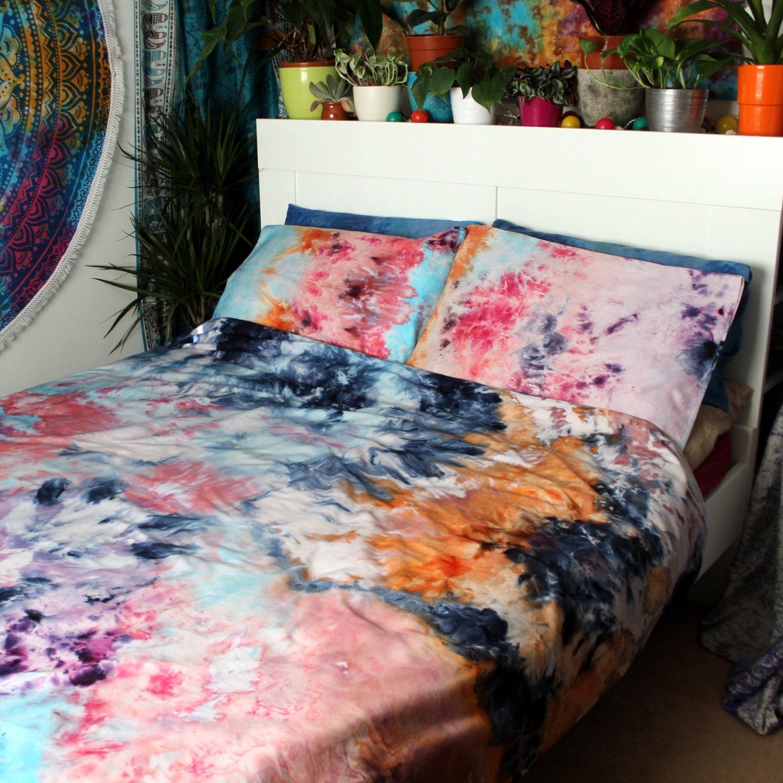 SALE Tie Dye Duvet Cover Set Hand Sewn Bedding Hippie