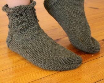 Green gray owls -Socks/slippers Womens Mens Warm cosy wool socks dark gray green Handknitted Gift idea Home relax warm Handmade in Finland