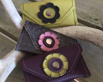 Soft Leather Card Purses - Apple Green, Purple and Lizard Print - Leather Business Card Holder - One Of A Kind - Handmade - Gifts for Her