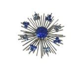 Jahrgang 1970 blaue Schneeflocke Stift / Sarah Coventry / Silber / atomaren / Modeschmuck / Vintage Brosche / Vintage Schmuck