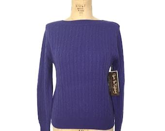 vintage 1980s DVF cable knit sweater / Diane von Furstenberg / purple / women's vintage sweater / tag size large