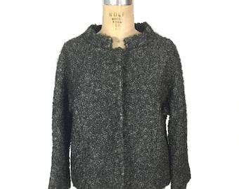 vintage 1960s persian lamb coat / gray / curly lamb / fur coat / persian lamb short coat / women's vintage jacket / size large