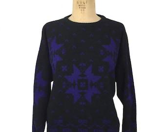 vintage 1980s GAP snowflake sweater / black blue / wool blend / women's vintage sweater / tag size medium