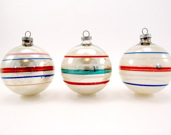 Vintage Glass Striped Christmas Ornaments Mid Century Christmas Decorations
