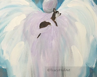 "Chihuahua Art Dog Angel Art PRINT Pet Loss Remembrance Memorial Gift Chihuahua Guardian Angel Art 8"" X 10"""