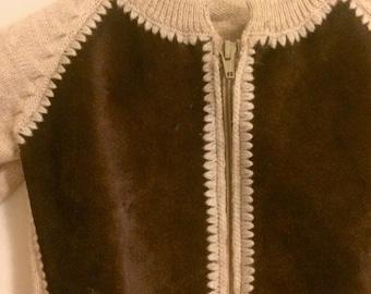 Vintage Toddler Suede Wool Zip Up Cardigan Sweater