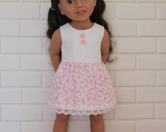 "Pale Pink White Sleeveless Summer Lace Dress Dolls Clothes to fit 20"" Australian Girl doll only"