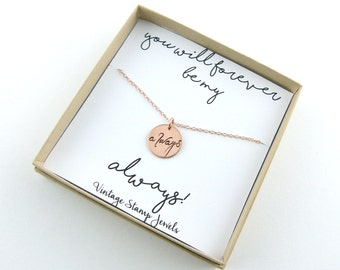 Rose gold Necklace, Always Necklace, Girlfriend Gift, Gift for her, Valentines Gift, Harry Potter quote