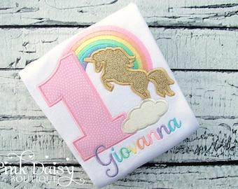 Unicorn Birthday Shirt - Pastel Rainbow Birthday Shirt - Gold Pink Unicorn - Unicorn Silhouette - Applique Unicorn Shirt - First Birthday