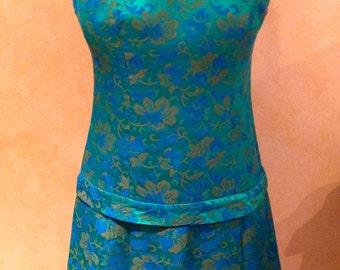 Vintage Teal Brocade Dropped Waist Mod Dress (Size S)