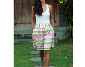Chevron Skirt in Green, Pink and Brown / Colorful Chevron Midi Skirt with Pockets / Elastic Waist