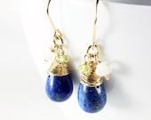Lapis Lazuli Earrings, gold-filled wire wrapped earrings, royal-blue gemstone earrings, Peridot, rock crystal, December birthstone, ER2500