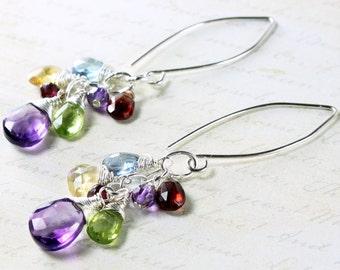 Mixed Gems Earrings, Amethyst, Peridot, Citrine, Garnet, Topaz, Sterling Silver wire wrap, multi colors gemstones, boho earrings, gift