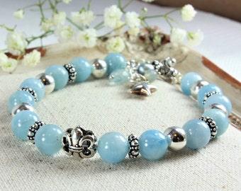 Natural Aquamarine Bracelet, 925 Sterling Silver, Genuine Aquamarine Jewelry, boho bracelet, blue gemstone bracelet, March birthstone, 4137