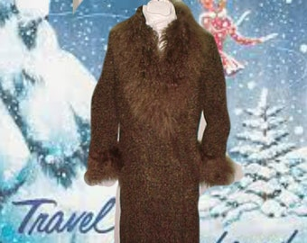 Mongolian Curly Lamb Trimmed Coat-Elegant Edwardian Design-Warm & Beautiful! Size M