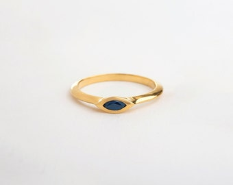 Small Sapphire Ring, Marquise Engagement Ring, Saphire Engagement Ring, Delicate Engagement Ring, Blue Gemstone Stackable Ring 14k 18k
