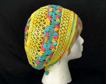 Cotton lightweight beret Bohemian lace hat Women summer slouchy beanies Crochet beret Boho hats Blue pink yellow beanie Hippie festival hat