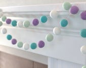 Lavender & Aqua Felt Ball Garland- Pom Pom- Nursery- Holiday- Wedding- Party- Childrens Room