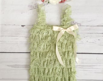 Baby girl clothes-vintage lace romper-romper headband set-moss green lace petti romper-newborn photo prop- garden party 1st birthday outfit