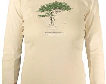 Women's Long sleeve Organic Cypress Tee/Organic Cotton/T-shirt/Drawing/tree/handmade/drawing/ancient tree