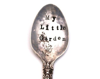Spoon GARDEN MARKER Vintage Demitasse Spoon - My Little Garden & a BEE - Garden Shabby Chic - Ready To Ship, Made In Usa