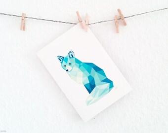 Arctic fox wall art, Ice fox print, Geometric fox, Fox illustration, Children's animal art, Fox decor, Polar bear art, Animal lovers art