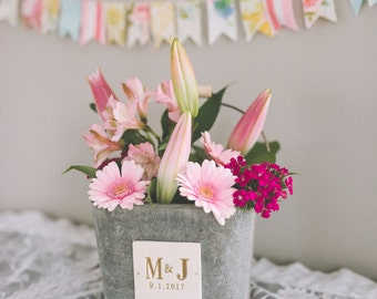 Personalized Bucket - Use it for a Planter or Wedding Cards Bucket - Large size - Personalized - Antique grey color