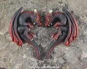 Custom Made Pair of Dragon Heart Friendship Necklaces - 2 Fire Elemental Dragons - IN STOCK and Ready to Ship