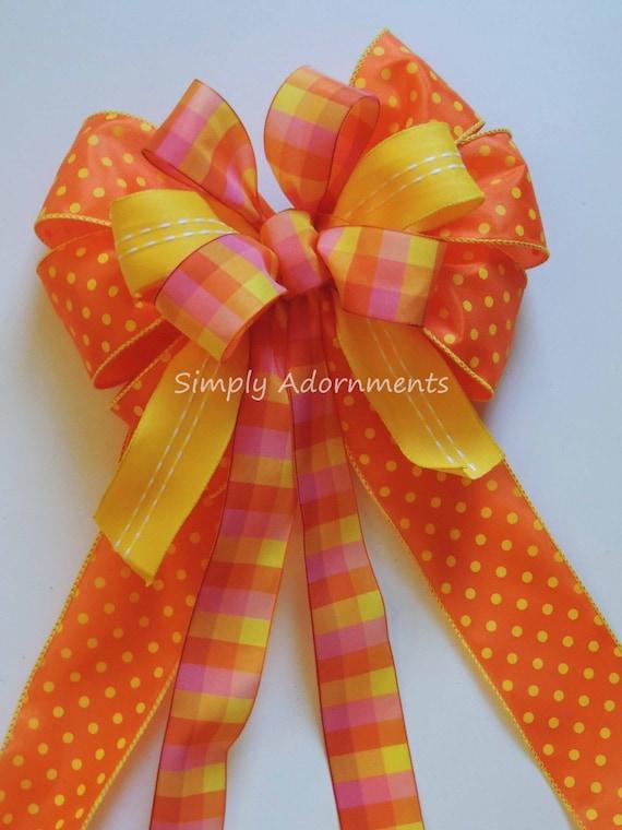 Yellow Orange Plaid Bow Yellow Orange Summer Party Decor Summer Wreath Bow Yellow Dots Birthday Party Decor Summer Wedding Pew Bow Gift Bow