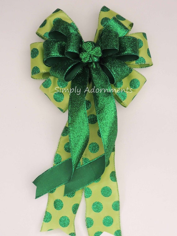 Christmas Saint Patrick's Bow St. Patrick's Wreath Bow Emerald Lime Irish Shamrock Bow St Patrick door hanger bow Shamrock Wreath Bow.