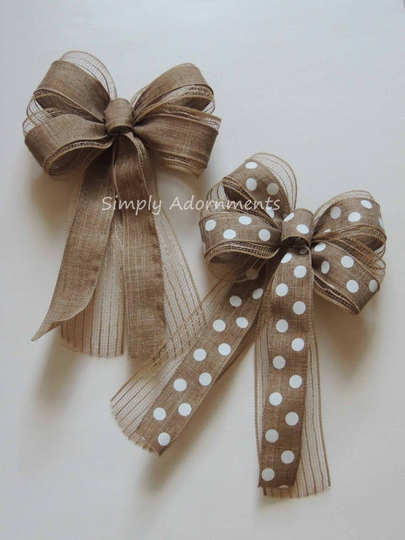 Natural Colored Mesh Burlap Bow Polka Dots Burlap Wreath Bow Door Hanger bow Rustic Burlap Easter Bows Rustic Burlap Home Decor Bows
