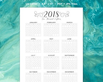 Year at a Glance Calendar | 2018 Calendar | Printable Calendar | Year in One Calendar | Wall Calendar | Calendar | 2018 | Printable