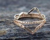 Three 14k Gold-Fill Mountain Landscape Rings