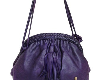 Vintage BALLY deep purple, violet genuine leather pouch, clutch style shoulder bag with golden B charm and braided kiss lock closure.