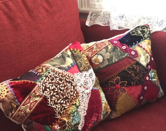 Crazy Quilted  Decorative Throw Pillows - set if two - Hand Embroidered Boho Gypsy from vintage quilt top