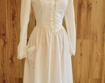 1970s Victorian Style Gunne Sax, Seventies Long Sleeve White Boho Dress, Semi Sheer Alternative Wedding Dress, Renaissance Look Dress