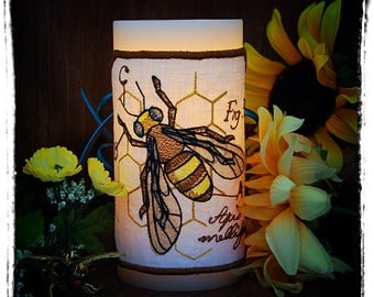 Honey Bee Diagram Embroidered Candle Wrap for LED Flameless Candles. Stitched on Linen.